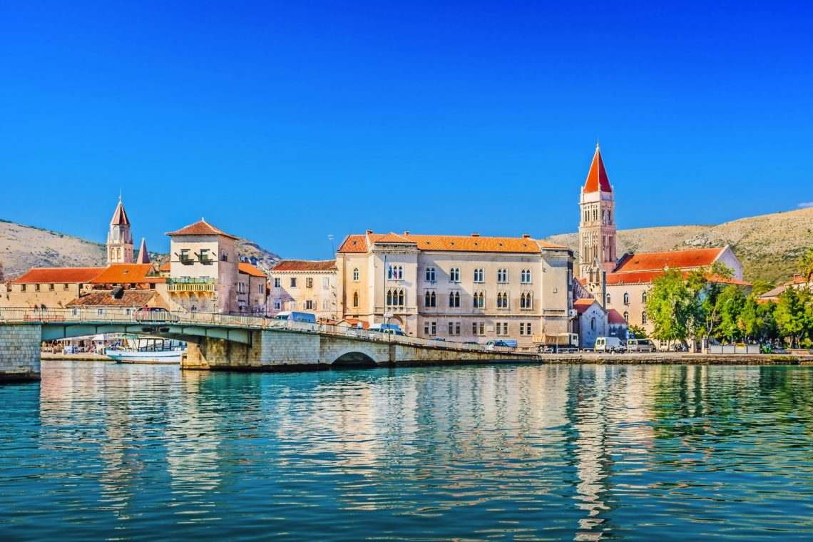 Trogir town coastal view. / Waterfront view at town Trogir, old touristic place in Croatia Europe.