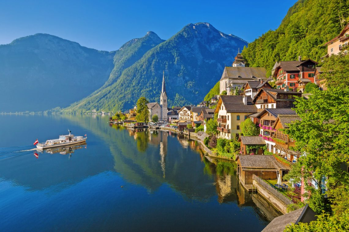 Postcard view of Hallstatt in summer, Salzkammergut, Austria